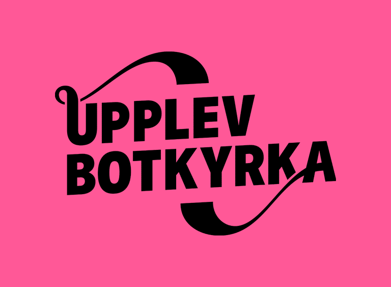 Upplev Botkyrkas logga med rosa bakgrund